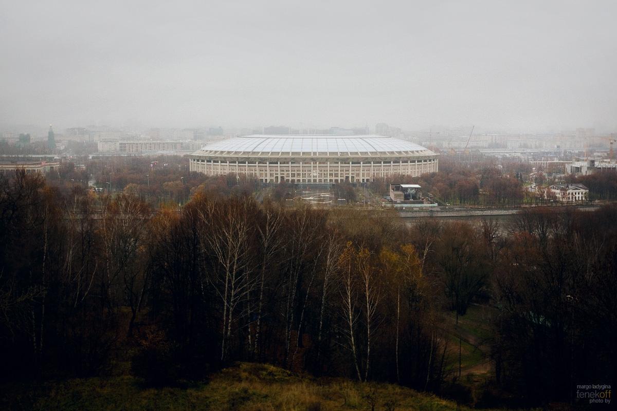 Туман над Москвой. Лужники. Вид со смотровой.