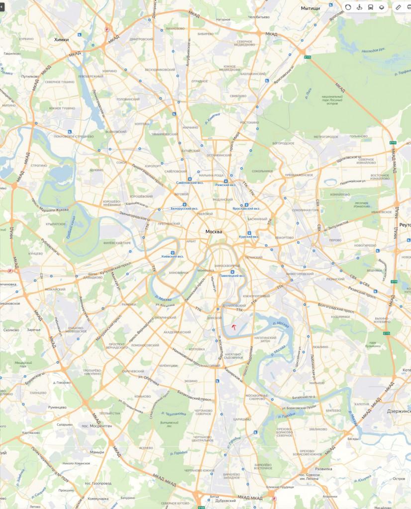 Парк Тюфелева роща на карте Москвы